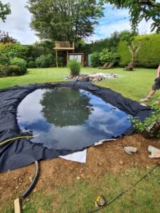 fitting a new pond liner